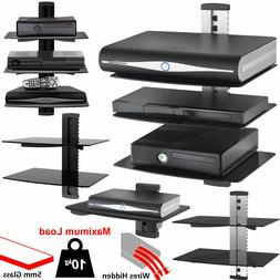 1 2 3 Tier Black Floating DVD Player Glass Shelf Game Consol