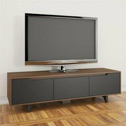 Nexera 107042 Alibi 60-inch TV Stand, Walnut and Charcoal