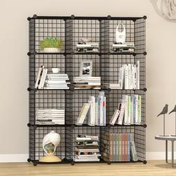 Unicoo-12 Cube Wire Grid Organizer, Bookcase, Storage Cabine
