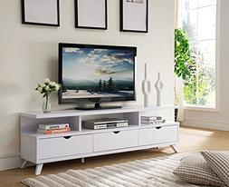 """Smart home 151280WH 75"""" TV Stand Entertainment Center in Whi"""
