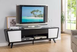"""151365 74"""" TV Stand Modern Alexa Dark Walnut White Entertain"""