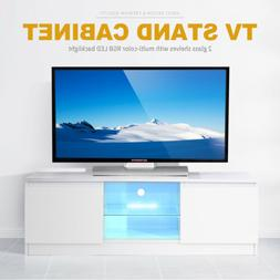 Modern High Gloss White LED TV Stand Unit Cabinet with 2 She