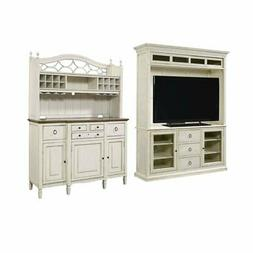 2 Piece Living Room Set with TV Stand & Buffet with Bar Hutc