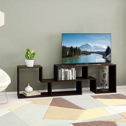 2 pieces TV Bookcase Stand Wood Entertainment Center Unit Bo
