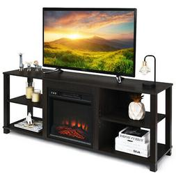 2-Tier TV Stand &Electric Fireplace Heater Storage Cabinet C