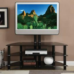 3 shelves Black Metal Shiny Glass TV Media Console Stand wit