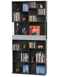 Atlantic 38435591 Oskar Plus Media Cabinet Walnut/Silver 15M