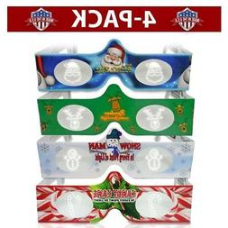 3D Christmas Glasses - 4 Pack Variety - Turn Holiday Lights