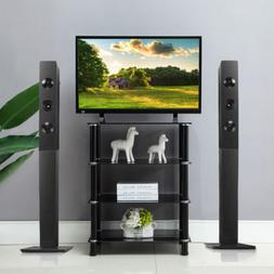4-Tiers Media Compontent TV Stand Audio Video Tower Tempered