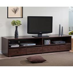 78.50 Inches 4 Drawer Dark Walnut Finish Entertainment Cente