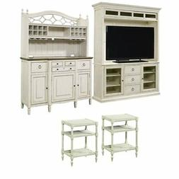 4 Piece Living Room Set with TV Stand, Buffet with Bar Hutch