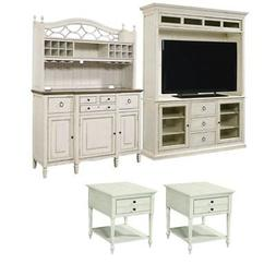4 Piece Living Room Set with TV Stand with Deck, Buffet with