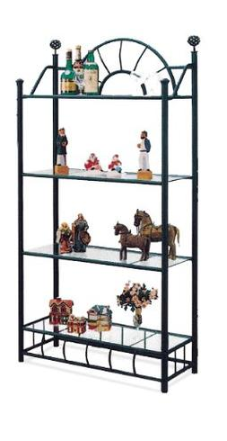4 Tier Black Metal Book Shelf / Case with Glass Shelves Sunb