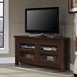 """44"""" Corner Wood TV Console - Traditional Brown"""