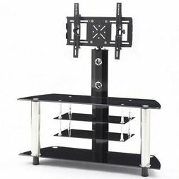 "Pemberly Row 47"" Wide Glass TV Stand in Black and Chrome"
