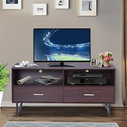 "HOMCOM 47"" Wood Grain Modern TV Stand Cabinet with Storage"