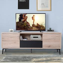 """HOMCOM 47"""" Wood Mid Century Modern Cabinet TV Stand with S"""