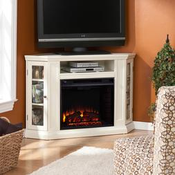 48CornerTVStand For Flat Screen White Storage Electric