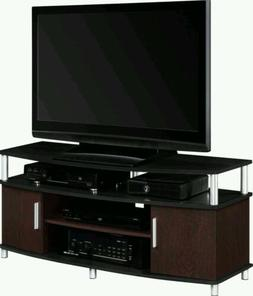 48 Inch TV Stand Black and Cherry Color Entertainment  Furni
