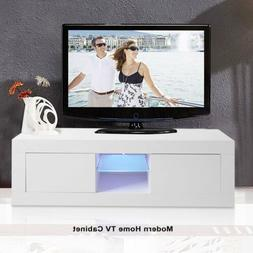 "49"" TV Stand High Gloss Cabinet Console w/LED Shelves 2 Draw"