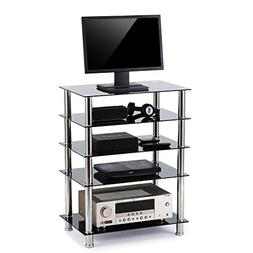Rfiver 5-Tier Black Glass Audio Video Tower for TV, Xbox, Ga