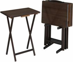 5-Piece Folding TV Tray Table Set All-Wood Dinner Laptop Sta