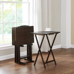 5 Piece Folding TV Tray Table Set Wood Dinner Laptop Stand S