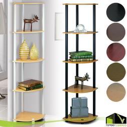 5 Tier Corner Shelf Storage Display Rack Bookcase Wall Offic