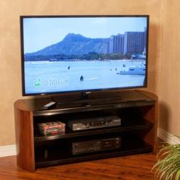 """50"""" Black Glass & Solid Wood Modern TV Stand in Chestnut Fin"""