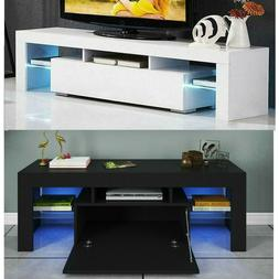 "51"" High Gloss TV Unit Cabinet Stand w/LED Lights Shelves &D"