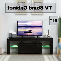 "51"" TV Stand Cabinet Media Console W/LED light Shelves Black"
