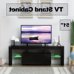 "51"" TV Stand Cabinet Media Console W/LED light Shelves Stora"