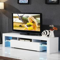 """51"""" TV Stand High Gloss White Cabinet Console Furniture w/LE"""