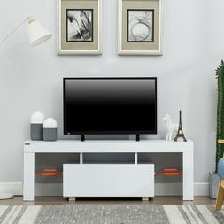 "51"" TV Stand Media Storage Cabinet w/LED Light  Glass Shelve"