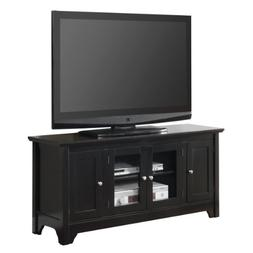 "52"" Solid Hard Wood TV Media Stand Console w/ 4 Doors , Blac"