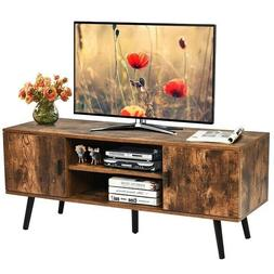 55 Inch TV Stand Rustic Living Room Media Storage Unit Enter