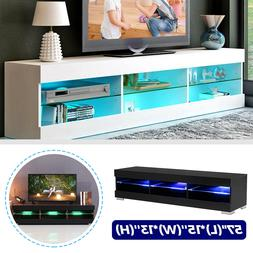 57'' MODERN TV UNIT CABINET STAND W/LED LIGHT SHELVES RC CON