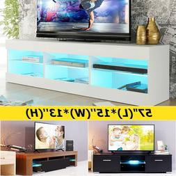 57'' High Gloss DIY TV Unit Cabinet Stand W/LED Lights Shelv