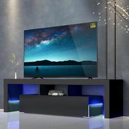 57'' High Gloss TV Stand Unit Cabinet Console w/LED Light Sh
