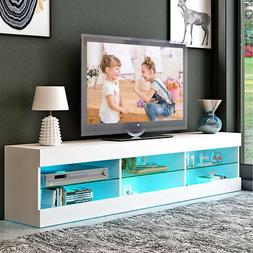 "57"" TV Cabinet Wood Stand w/ LED Light Shelf Console Table E"