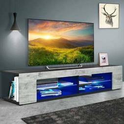 57'' Modern TV Stand Cabinet Unit w/ LED Shelves Entertainme