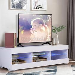 57'' TV Stand Unit Cabinet Media w/ LED Shelves Entertainmen