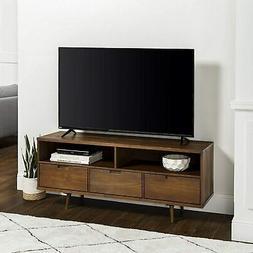 """58"""" 3-Drawer Mid Century Modern TV Stand - Walnut"""