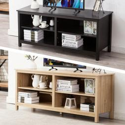 "58"" Wood TV Stand Storage Console Table with 2 Tiers Shelvin"