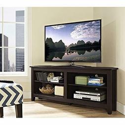 "WE Furniture 58"" Espresso Wood Modern Corner TV Stand Consol"