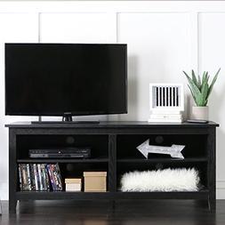 58 Inch Modern Open Shelving TV Console, Black Finish
