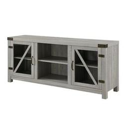 58 inch Rustic Farmhouse TV Stand with Glass Doors in Stone