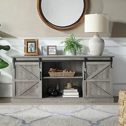 """58"""" Sliding Barn Door TV Stand Console W/Storage For TVs Up"""