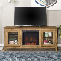 """58"""" Wood Media TV Stand Console with Fireplace - Barnwood"""