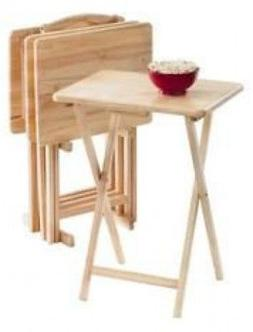 5Pc TV Table Tray Set Wood Stand End Folding Portable Top Fu